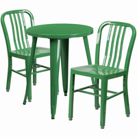 Flash Furniture 24'' Round Green Metal Indoor-Outdoor Table Set with 2 Vertical Slat Back Chairs