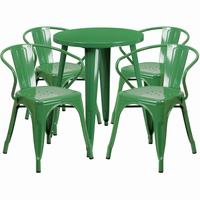 Flash Furniture 24'' Round Green Metal Indoor-Outdoor Table Set with 4 Arm Chairs