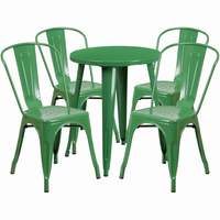 Flash Furniture 24'' Round Green Metal Indoor-Outdoor Table Set with 4 Cafe Chairs