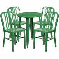Flash Furniture 24'' Round Green Metal Indoor-Outdoor Table Set with 4 Vertical Slat Back Chairs
