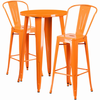 Flash Furniture 24'' Round Orange Metal Indoor-Outdoor Bar Table Set with 2 Cafe Barstools