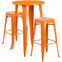 Flash Furniture 24'' Round Orange Metal Indoor-Outdoor Bar Table Set with 2 Square Seat Backless Barstools