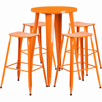 Flash Furniture 24'' Round Orange Metal Indoor-Outdoor Bar Table Set with 4 Backless Saddle Seat Barstools