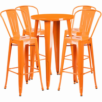 Flash Furniture 24'' Round Orange Metal Indoor-Outdoor Bar Table Set with 4 Cafe Barstools