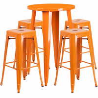 Flash Furniture 24'' Round Orange Metal Indoor-Outdoor Bar Table Set with 4 Square Seat Backless Barstools