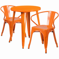 Flash Furniture 24'' Round Orange Metal Indoor-Outdoor Table Set with 2 Arm Chairs