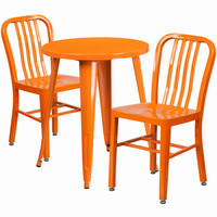 Flash Furniture 24'' Round Orange Metal Indoor-Outdoor Table Set with 2 Vertical Slat Back Chairs