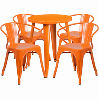 Flash Furniture 24'' Round Orange Metal Indoor-Outdoor Table Set with 4 Arm Chairs
