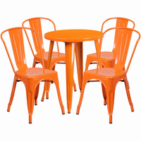 Flash Furniture 24'' Round Orange Metal Indoor-Outdoor Table Set with 4 Cafe Chairs