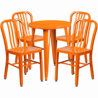 Flash Furniture 24'' Round Orange Metal Indoor-Outdoor Table Set with 4 Vertical Slat Back Chairs