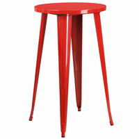 Flash Furniture 24'' Round Red Metal Indoor-Outdoor Bar Height Table