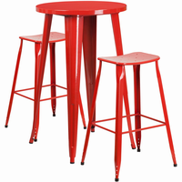 Flash Furniture 24'' Round Red Metal Indoor-Outdoor Bar Table Set with 2 Backless Saddle Seat Barstools