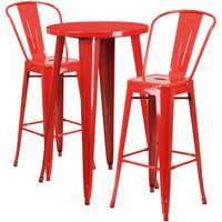 Flash Furniture 24'' Round Red Metal Indoor-Outdoor Bar Table Set with 2 Cafe Barstools