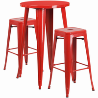 Flash Furniture 24'' Round Red Metal Indoor-Outdoor Bar Table Set with 2 Square Seat Backless Barstools