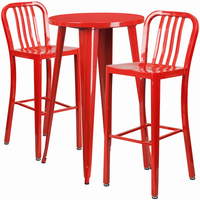 Flash Furniture 24'' Round Red Metal Indoor-Outdoor Bar Table Set with 2 Vertical Slat Back Barstools