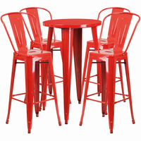 Flash Furniture 24'' Round Red Metal Indoor-Outdoor Bar Table Set with 4 Cafe Barstools