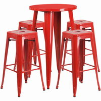 Flash Furniture 24'' Round Red Metal Indoor-Outdoor Bar Table Set with 4 Square Seat Backless Barstools