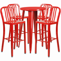 Flash Furniture 24'' Round Red Metal Indoor-Outdoor Bar Table Set with 4 Vertical Slat Back Barstools