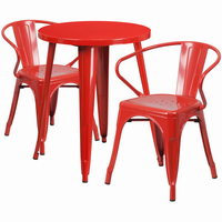 Flash Furniture 24'' Round Red Metal Indoor-Outdoor Table Set with 2 Arm Chairs