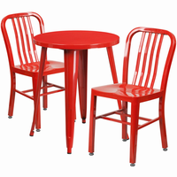 Flash Furniture 24'' Round Red Metal Indoor-Outdoor Table Set with 2 Vertical Slat Back Chairs