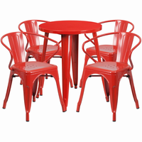 Flash Furniture 24'' Round Red Metal Indoor-Outdoor Table Set with 4 Arm Chairs