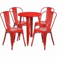 Flash Furniture 24'' Round Red Metal Indoor-Outdoor Table Set with 4 Cafe Chairs