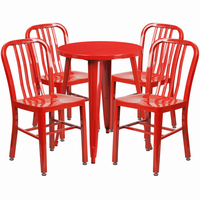 Flash Furniture 24'' Round Red Metal Indoor-Outdoor Table Set with 4 Vertical Slat Back Chairs