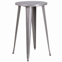 Flash Furniture 24'' Round Silver Metal Indoor-Outdoor Bar Height Table