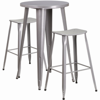 Flash Furniture 24'' Round Silver Metal Indoor-Outdoor Bar Table Set with 2 Backless Saddle Seat Barstools