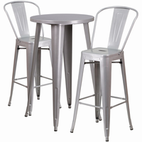 Flash Furniture 24'' Round Silver Metal Indoor-Outdoor Bar Table Set with 2 Cafe Barstools