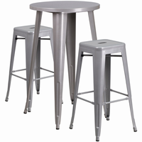 Flash Furniture 24'' Round Silver Metal Indoor-Outdoor Bar Table Set with 2 Square Seat Backless Barstools