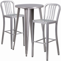 Flash Furniture 24'' Round Silver Metal Indoor-Outdoor Bar Table Set with 2 Vertical Slat Back Barstools