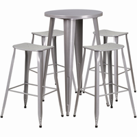 Flash Furniture 24'' Round Silver Metal Indoor-Outdoor Bar Table Set with 4 Backless Saddle Seat Barstools