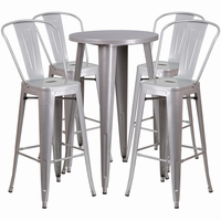 Flash Furniture 24'' Round Silver Metal Indoor-Outdoor Bar Table Set with 4 Cafe Barstools