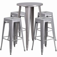 Flash Furniture 24'' Round Silver Metal Indoor-Outdoor Bar Table Set with 4 Square Seat Backless Barstools