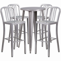 Flash Furniture 24'' Round Silver Metal Indoor-Outdoor Bar Table Set with 4 Vertical Slat Back Barstools