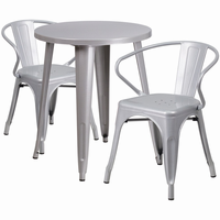 Flash Furniture 24'' Round Silver Metal Indoor-Outdoor Table Set with 2 Arm Chairs