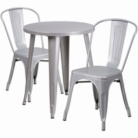 Flash Furniture 24'' Round Silver Metal Indoor-Outdoor Table Set with 2 Cafe Chairs