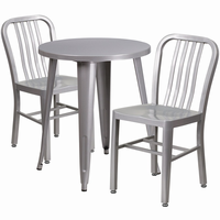 Flash Furniture 24'' Round Silver Metal Indoor-Outdoor Table Set with 2 Vertical Slat Back Chairs