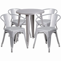 Flash Furniture 24'' Round Silver Metal Indoor-Outdoor Table Set with 4 Arm Chairs