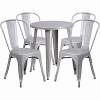 Flash Furniture 24'' Round Silver Metal Indoor-Outdoor Table Set with 4 Cafe Chairs