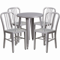Flash Furniture 24'' Round Silver Metal Indoor-Outdoor Table Set with 4 Vertical Slat Back Chairs