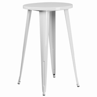 Flash Furniture 24'' Round White Metal Indoor-Outdoor Bar Height Table