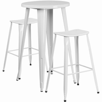 Flash Furniture 24'' Round White Metal Indoor-Outdoor Bar Table Set with 2 Backless Saddle Seat Barstools