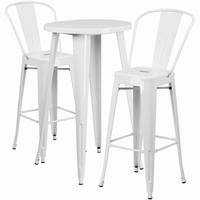 Flash Furniture 24'' Round White Metal Indoor-Outdoor Bar Table Set with 2 Cafe Barstools