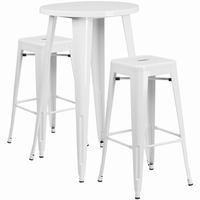 Flash Furniture 24'' Round White Metal Indoor-Outdoor Bar Table Set with 2 Square Seat Backless Barstools