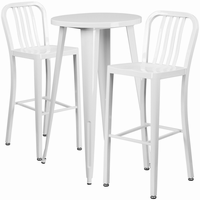 Flash Furniture 24'' Round White Metal Indoor-Outdoor Bar Table Set with 2 Vertical Slat Back Barstools