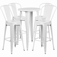 Flash Furniture 24'' Round White Metal Indoor-Outdoor Bar Table Set with 4 Cafe Barstools