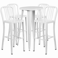 Flash Furniture 24'' Round White Metal Indoor-Outdoor Bar Table Set with 4 Vertical Slat Back Barstools