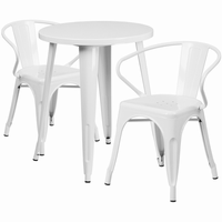 Flash Furniture 24'' Round White Metal Indoor-Outdoor Table Set with 2 Arm Chairs